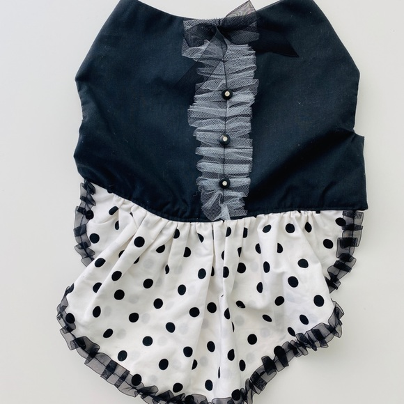 Dog Puppy Pet Party Dress Outfit Polka Dot Ruffles